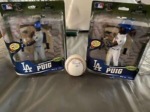Yasiel Puig Signed Baseball and 2 Rare Action Figures