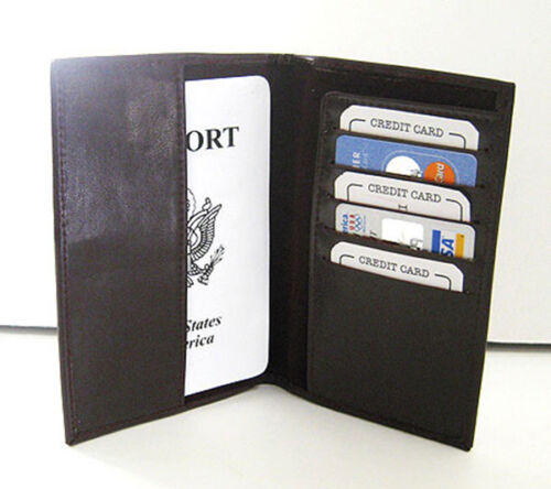 Black PASSPORT ID Credit Card Wallet Glossy Leather Holder Wallet Cover Nice