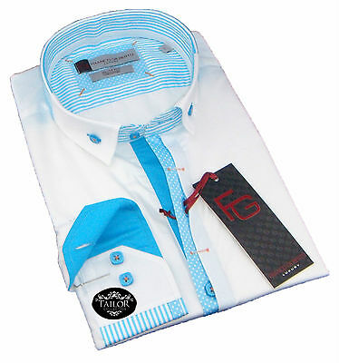 New Mens Formal White and Blue Stripes Smart Collar Slim Fit Shirt 100% Cotton
