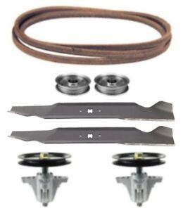 "Troy Bilt Horse XP 46/"" Lawn Mower Deck Rebuild Kit Spindles Blades Belt Pulleys"