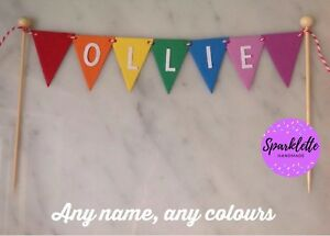 Image Is Loading Personalised Cake Topper Rainbow White Name Girl Boy