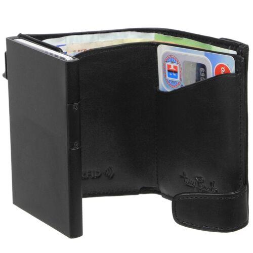 RFID Damen Herren Kartenetui Carbon Aluminium Leder TONY PEROTTI Geldbeutelbörse