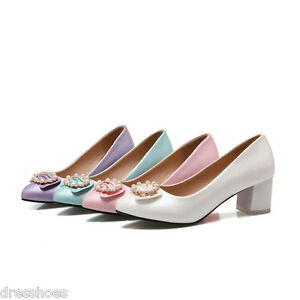 Image Is Loading Women 039 S Mid Heel Wedding Shoes Pearly