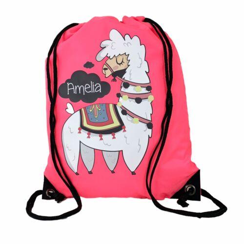 Personalised Kids Pink Llama  Drawstring Swimming School PE Bag For Girls