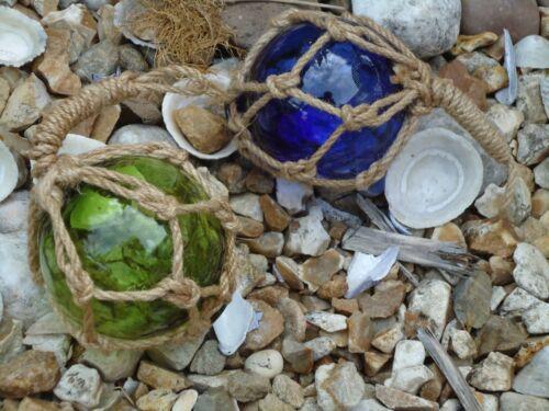 2 x red de Barco de Pesca Flotadores De Vidrio Soplado Azul Jade Verde Náutica-Baño 80m