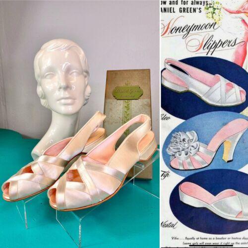 Vintage 1940s Slippers • Ivory Satin Boudoir Bedro