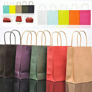 various colors super popular reliable quality Details about 5 Colors Kraft Party Paper Carrier Bag Wedding Treat With  Handle Loot Bags