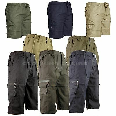 Mens Elasticated Summer Cargo Combat 3/4 Long Shorts, short length pants GQ501