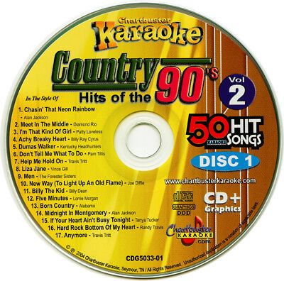 Lower Price with Karaoke Cd+g Chartbuster 5033 Country Hits Of The 90's Vol-2 New In Case Attractive And Durable Karaoke Cdgs, Dvds & Media Karaoke Entertainment