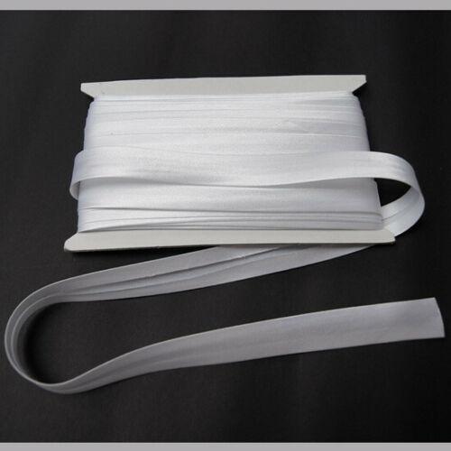ღ♥ღ Meterware Schrägband Satin Einfaßband Kantenband Weiß gefälzt 18 mm ღ♥ღ