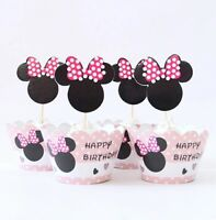 48 Pcs, 24 Minnie Mouse Cupcake Wrappers & 24 Toppers Kids Birthday Party Supply