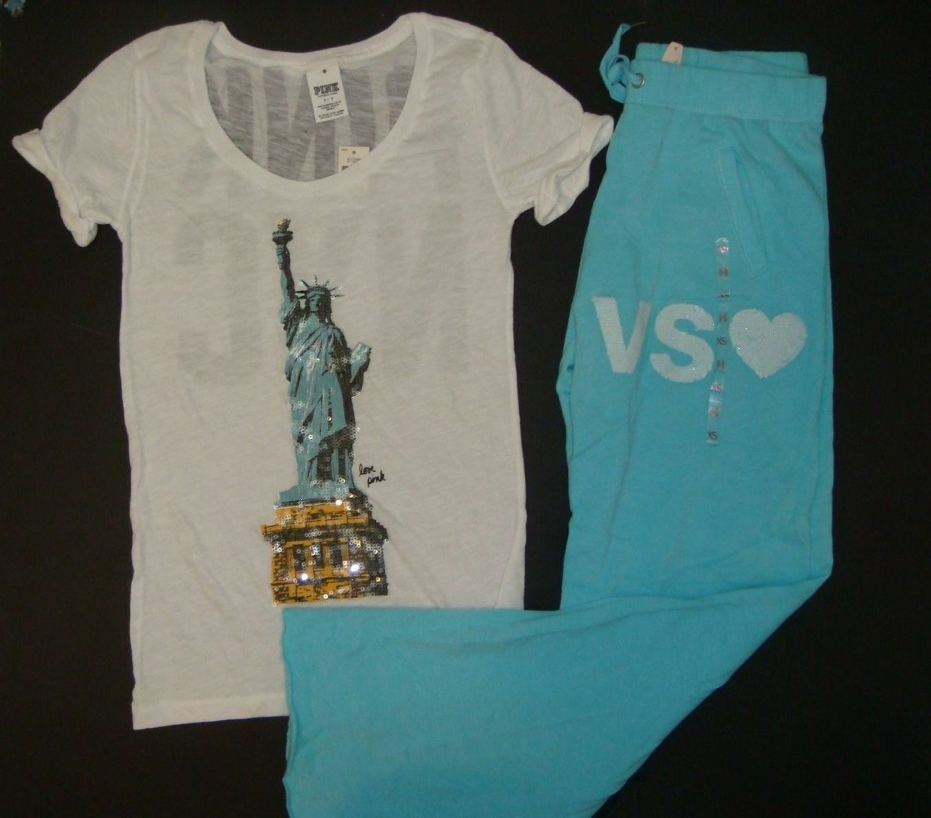 Victoria's Secret S SHIRT+XS sweatpants PINK NYC sequin statue Of Liberty blueE