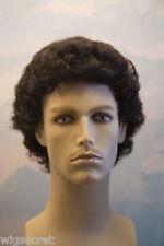 Black Brunette Curly Men Wig