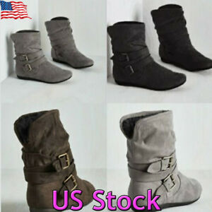 US-Womens-Winter-Warm-Ankle-Boots-Ladies-Fur-Snow-Buckle-Flat-Suede-Slouch-Shoes