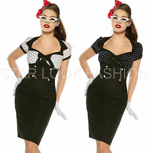 vintage kleid pin up style 50er jahre rockabilly kleid. Black Bedroom Furniture Sets. Home Design Ideas