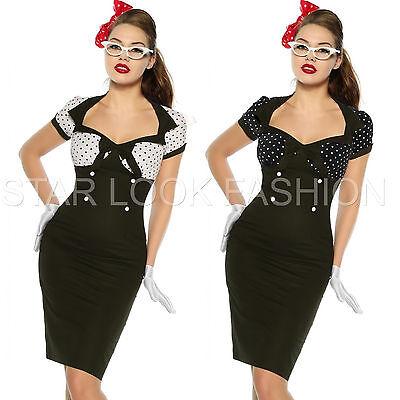 Vintage-Kleid Pin-Up Style 50er Jahre Rockabilly-Kleid Retro Etuikleid schwarz