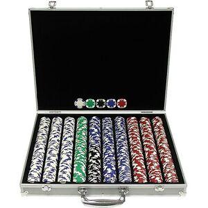 Piece texas hold 039 em poker chip set aluminum case black felt lined