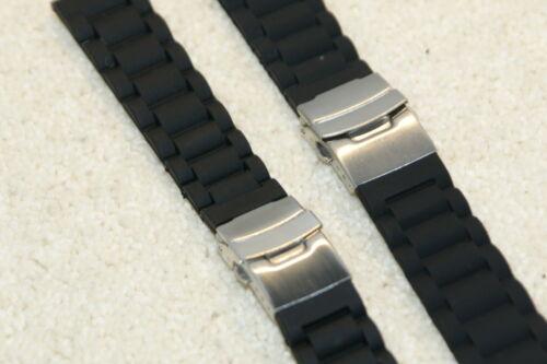 Silicone Strié Noir Bracelet Montre avec 3 Plié de Sureté Clasp 20mm-24mm