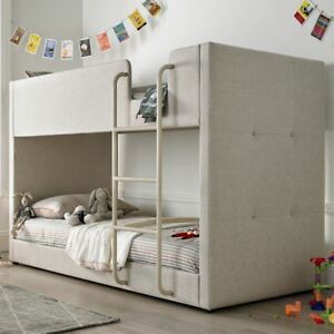 Saturn Oatmeal Neutral Fabric Bunk Bed 3ft Single With 4 Mattress