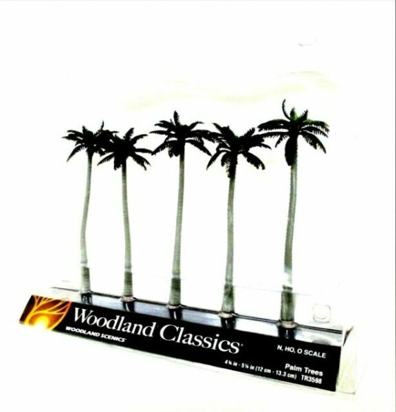 "TR3598 Woodland Scenics Palm Trees 5 Pack 4 3//4/"" 5 1//4/"" Ready Made Trees TMC"
