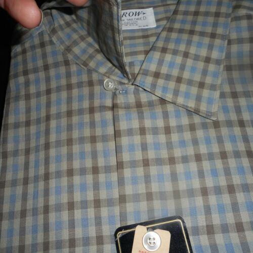 NOS 50's ARROW Grey Blue Taupe Windowpane! Loop Co