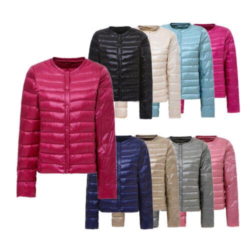 Women/'s Ladies Short Down Puffer Winter Jacket Round Neck Protable Jackets Coat