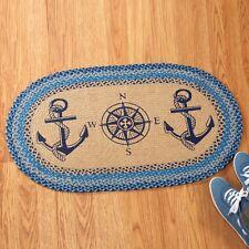 Nautical Anchors Compass Blue Tan Braided Floor Rug Door Mat Home Beach House