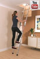 ALUMINIUM LOFT LADDER 2 SECTION YOUNGMAN   WITH INSTALLATION VIDEO