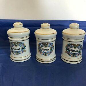 Porcelain Pharmacy Apothecary Medicine Bandaid Gauze Aspirin Canister Jar w Lids