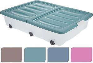2 x 70 L Large sous-lit en plastique à roulettes Boîte de rangement récipient avec Pliage Couvercle