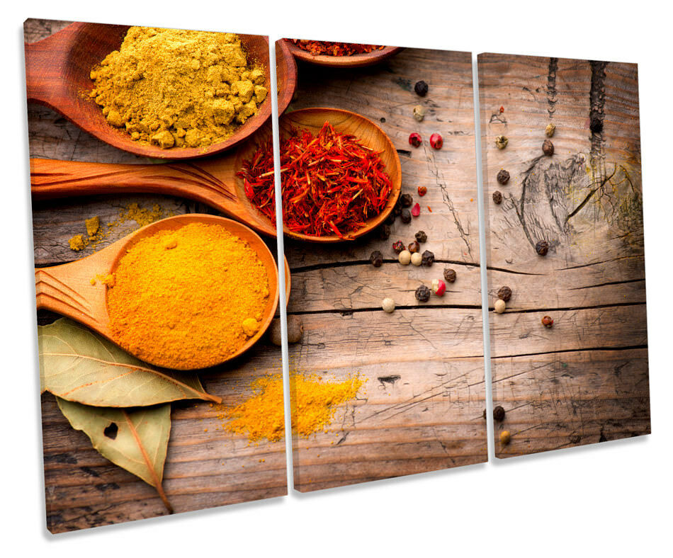 Curry Spices Powder Herbs Picture TREBLE CANVAS CANVAS CANVAS WALL ART Print e410f9