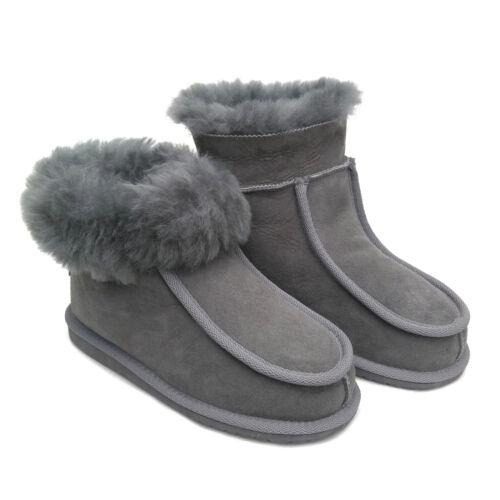 New Ladies Women/'s Premium Grey 100/% Pure  Fur Wool Sheepskin SLIPPERS Boots L