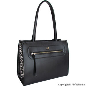 premium selection 94157 68874 Details about Cavalli CLASS by Roberto Cavalli black leather with leopard  sides Shopper bag