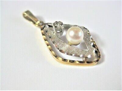 Begeistert Anhänger Gold 585 Bicolor Mit Perle Und Diamant, 2,81 G