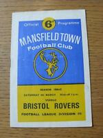 04/03/1967 Mansfield Town v Bristol Rovers  (Creased)