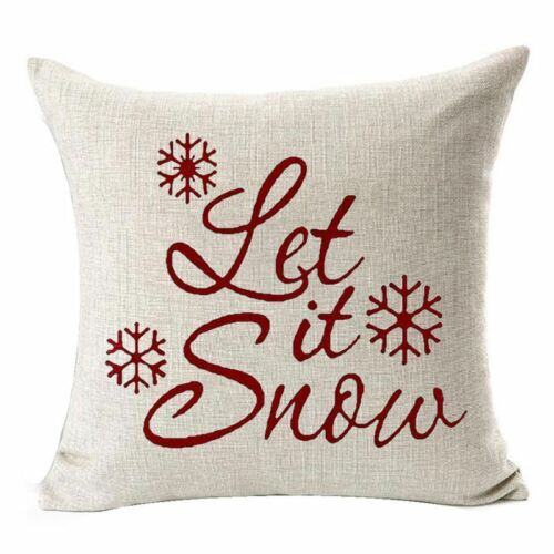 Let It Snow belle Flocons De Neige Joyeux Noël Cadeaux lin Throw Pillow CA G8P5