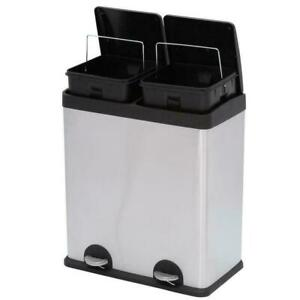 Details About Dual Compartment Trash Can Big Kitchen Tall With Lid Garage Twin Stylish 2 In 1