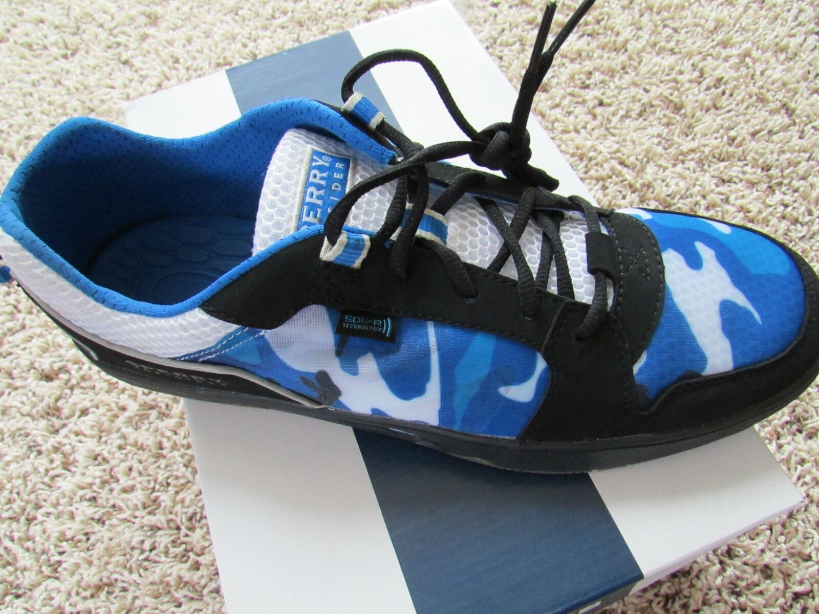 NEW SPERRY SON-R PONG BLUE CAMO SNEAKER SHOES MENS 8.5 ATHLETIC