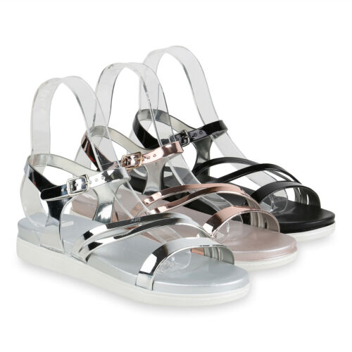 Damen Plateau Sandaletten Lack Metallic Sommer Riemchen 822160 Schuhe