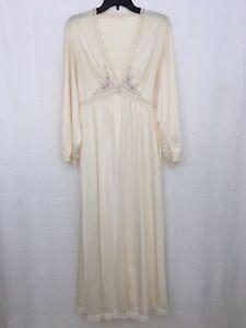 Vintage-ShadowLine-Lingerie-Robe-Womens-Medium-Floral-Nylon-Lace-Cream-Pockets