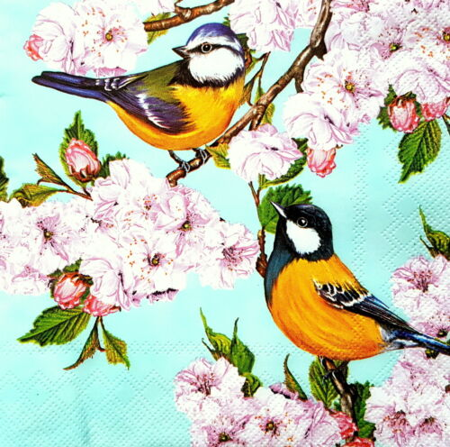 4 Single Lunch Paper Napkins for Decoupage Party  Craft Vintage Birds /& Spring