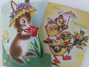 2-Vtg-1950s-EASTER-Cards-GLITTER-Bonnet-BUNNY-amp-CHICKS-Parade-ART-GUILD-GREETING