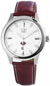 Flair-Herrenuhr-Silber-Braun-Datum-Edelstahl-Leder-Armbanduhr-X200722000010