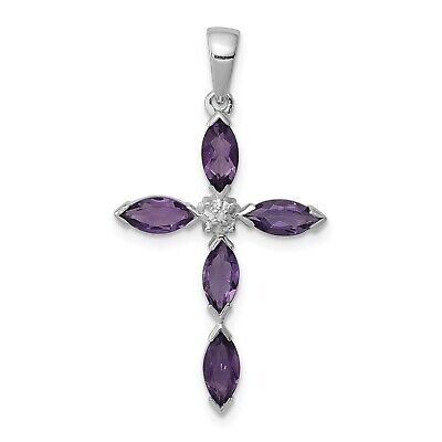 2-Tone-Yellow Gold /& 925 Silver Rhodium-Plated Pendant-Free Shipping+Chain Black-White Top-Bright Crystal and Marquise-Deep-Purple-Amethyst