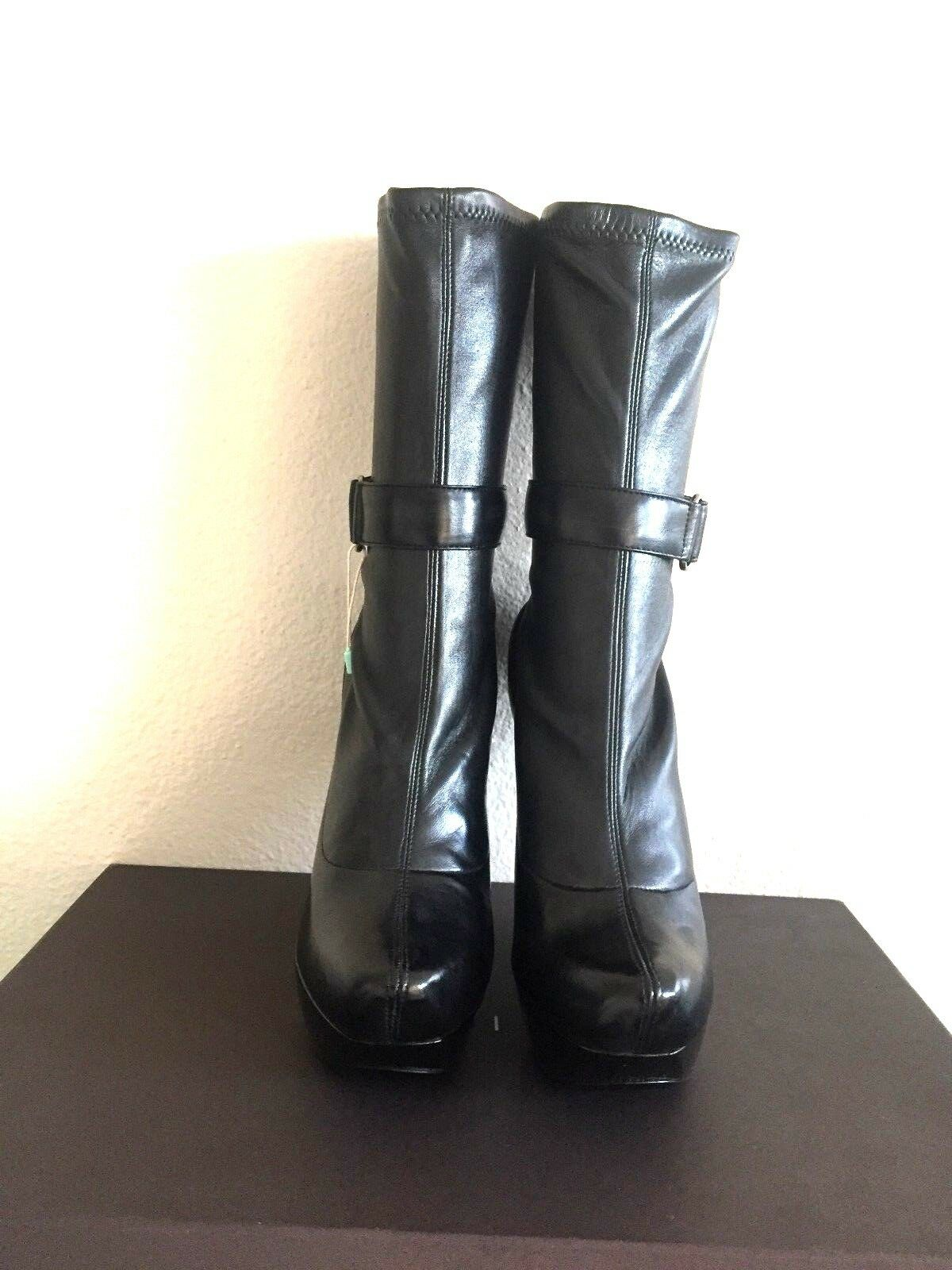 CELINE by Phoebe Philo black Leather Leather Leather Platform Wedge Ankle Boots 37 Made In  a6e45b