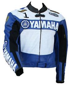 YAMAHA-Corsa-Motociclista-Cuoio-Giacca-Gara-Uomo-Motociclo-Pelle-Giacca-EU-46-60