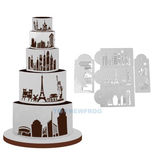 5x Stadtansicht Torte Schablone DIY Fondant Seite Dekoration Werkzeug
