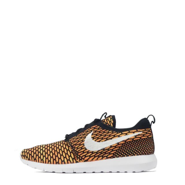 detailed look 6c7aa 24436 Nike Roshe One Flyknit NM Natural Motion Mens Trainers Shoes in Black Orange