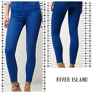 ec24819337bfb1 Image is loading ex-River-Island-Bright-Blue-Wash-Molly-Jeggings-