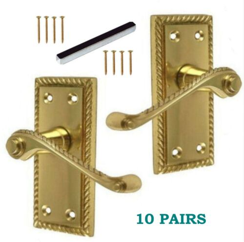 SOLID Brass GEORGIAN ROPE Internal Latch Door Handles 1-10 Packs  D21